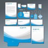 Blue stationery set — Stock Vector