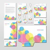 Vector stationery set with colorful circles — Stock Vector