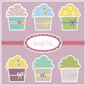 Vector greeting card with cupcakes — Stock Vector