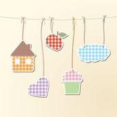 Cute objects on strings — Stock Vector