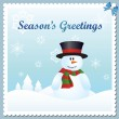 Stock Vector: Snowmgreeting card