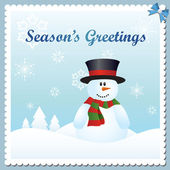 Snowman greeting card — Stock Vector