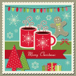 Stock Vector: Hot chocolate Christmas card