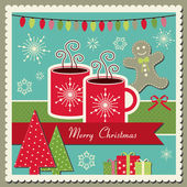 Hot chocolate Christmas card — Stock Vector