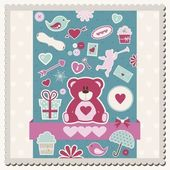 Valentine's Day scrapbook card — Stock Vector