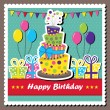 Stock Vector: Birthday card with topsy-turvy cake