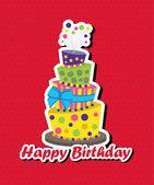 Birthday card with topsy-turvy cake — Stock Vector