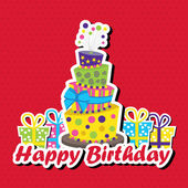 Birthday card with topsy-turvy cake — Stock Vector