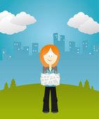 Girl hitchhiker — Stock Vector