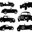 Silhouettes of antique collector cars — Stock Vector #13547970