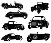 Silhouettes of antique collector cars — Stock Vector