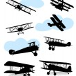 Stock Vector: Collection of silhouettes of various planes