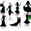 Belly dance. Silhouettes of beauty dancers. — Stock Vector