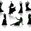 Belly dance. Silhouettes of beauty dancers. - Stock Vector