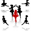 Dancers silhouette of national folk dance of Ireland. - Stock Vector