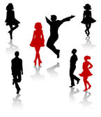 Dancers silhouette of national folk dance of Ireland. — Stock Vector
