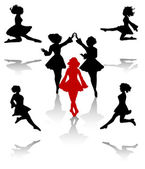 Dancers silhouette of national folk dance of Ireland. — Stock Vector