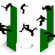 Silhouette of parkour. — Stock Vector