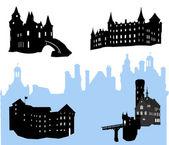 Cinque castelli e fortezza silhouette — Vettoriale Stock