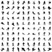 One hundred silhouette of skiers — Stock Vector