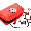 Foto de Stock  : Mobile phone bag and headphones