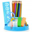 Pencil holder with rule, scissors, erasers and many-colored pe — Stock Photo #12509306