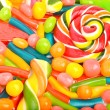 Bright sweets, lollipops, dragee, candies and jelly sweets — Stock Photo