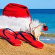 Santa Claus hat and slippers on the seashore against blue sky — Stock Photo #16109703