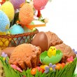 Easter eggs in the basket, chocolate eggs and muffins on the gra — Stock Photo