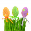 Fresh green grass and colored easter eggs - Stock Photo