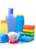 Cleaning supplies, sponges, cleaning powder and garbage bags — 图库照片