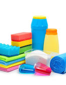 Cleaning supplies, sponge, cleaning powder and garbage bags — Stock Photo