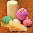 Candle, soap, bath bombs on wood — Stock fotografie #26172589
