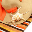 Beach hat, bright towel and a seashell — Stock Photo