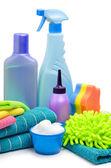 清洁用品、 海绵、 超细纤维、 毛巾、 餐巾 — 图库照片