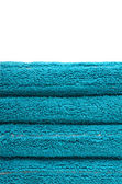 Stack of blue towels — Stock Photo