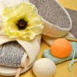 Natural bath sponges, bath slippers, pumice, bath bombs, salt — Stockfoto