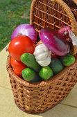 Rauwe, rijp fruit in de picknickmand — Stockfoto