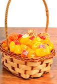 Dried fruits and candied fruit in the basket — Stock Photo