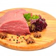 Raw beef and lettuce on the wooden board — Stock Photo