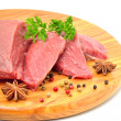 Stock Photo: Raw beef and meat slices isolated on white
