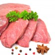 Stock Photo: Raw beef, meat slices isolated on white