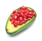 Ripe avocado and pomegranate seeds — Zdjęcie stockowe