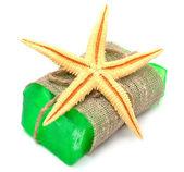 Natural handmade soap with starfish — Stock Photo
