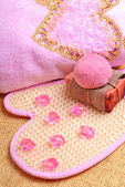 Pink bath towel, natural soap, bomb salt — Stock Photo