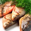 Crucian carp fishes with green dill — Stock Photo #49797307