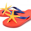 Red flip flops with starfishes — Stock Photo #49798653