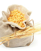 Pasta in bag with wheat ears  — Stock Photo