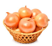 Yellow onion in the basket — Stock Photo