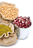Chick-pea, mung beans, kidney-beans in the sacks — Stock Photo